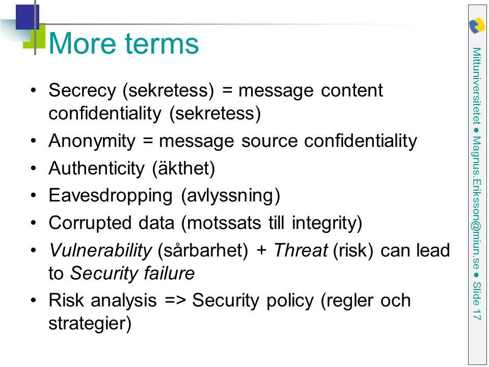 More terms Secrecy (sekretess) = message content confidentiality (sekretess) Anonymity = message source confidentiality.