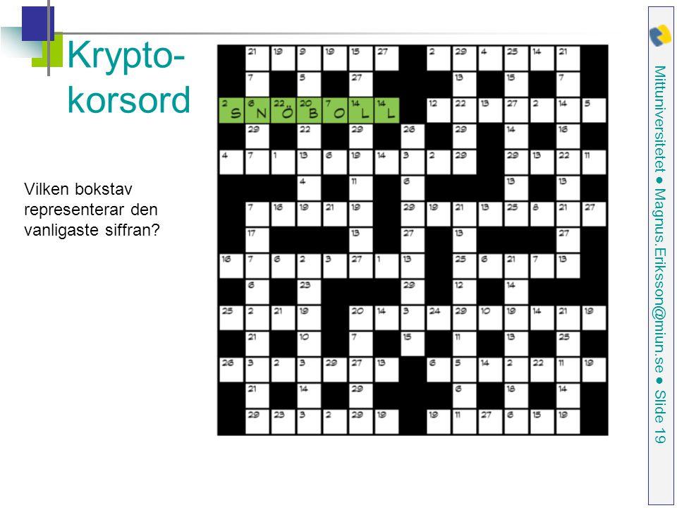 Krypto-korsord Vilken bokstav representerar den vanligaste siffran