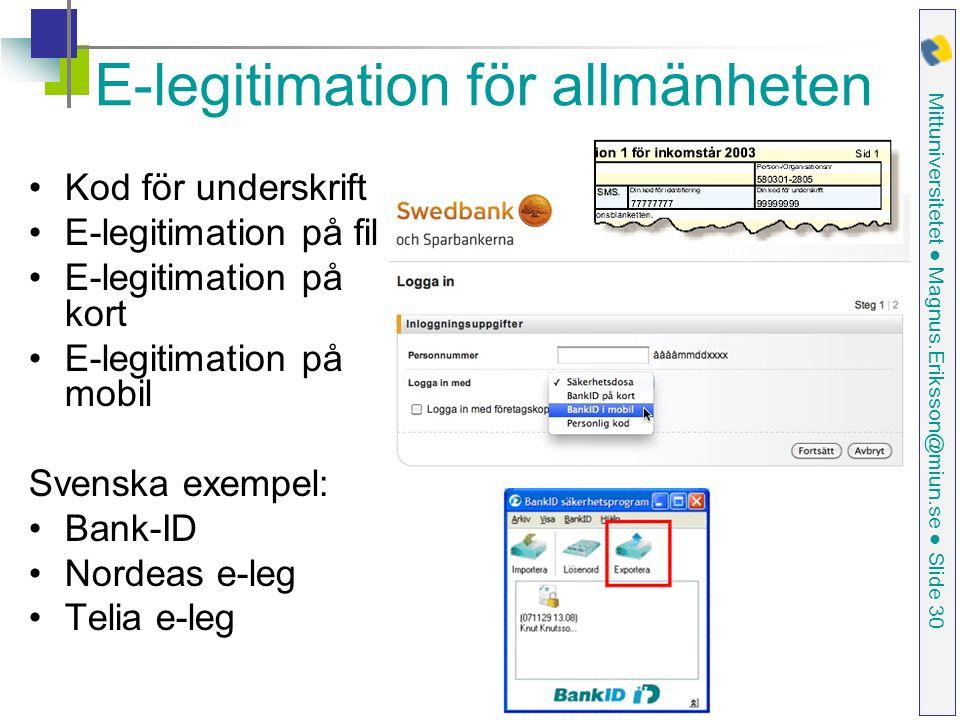E-legitimation för allmänheten