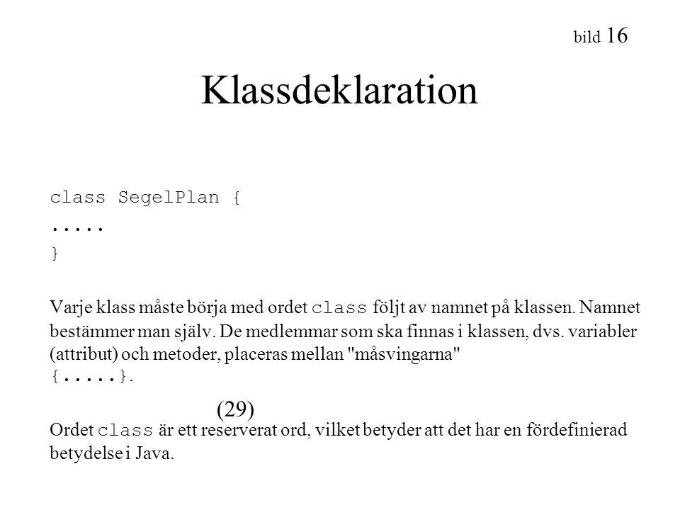 Klassdeklaration class SegelPlan { (29) ..... }