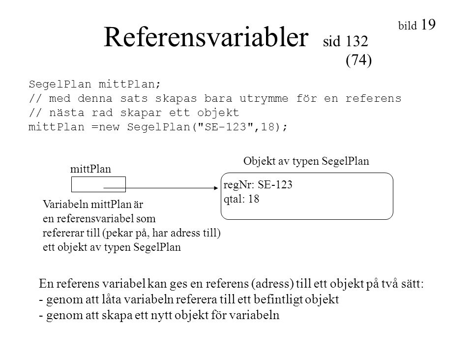 Referensvariabler sid 132
