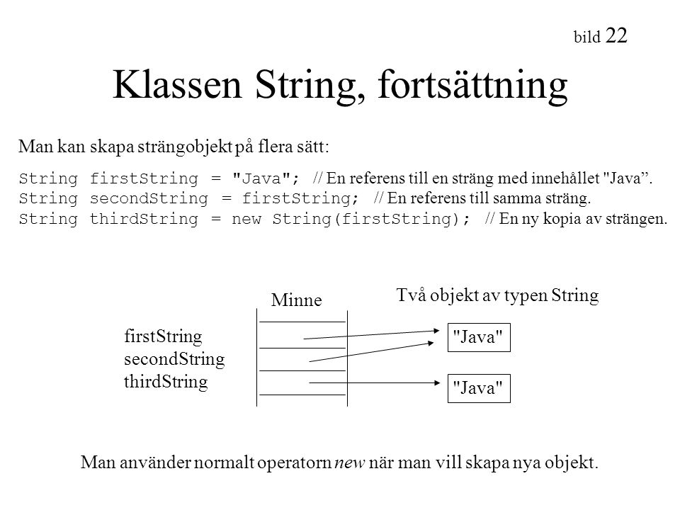 Klassen String, fortsättning