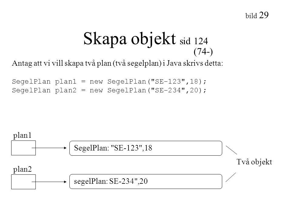 Skapa objekt sid 124 (74-) Antag att vi vill skapa två plan (två segelplan) i Java skrivs detta: SegelPlan plan1 = new SegelPlan( SE-123 ,18);