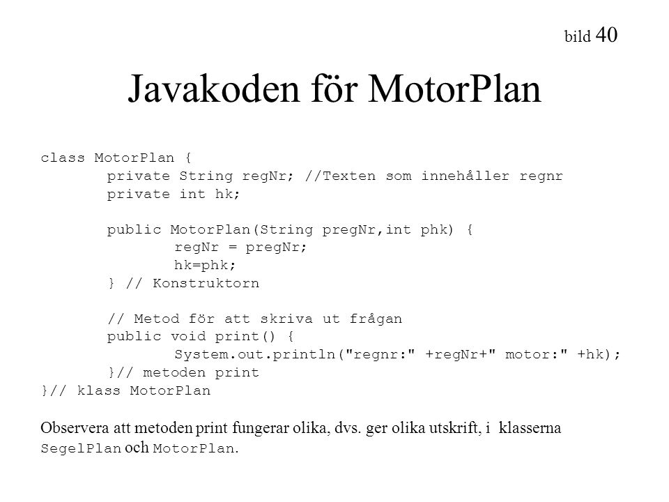 Javakoden för MotorPlan