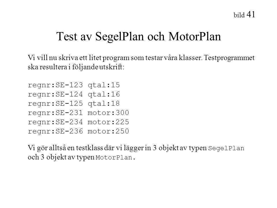 Test av SegelPlan och MotorPlan