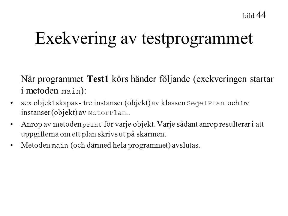 Exekvering av testprogrammet