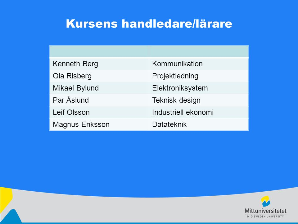 Kursens handledare/lärare