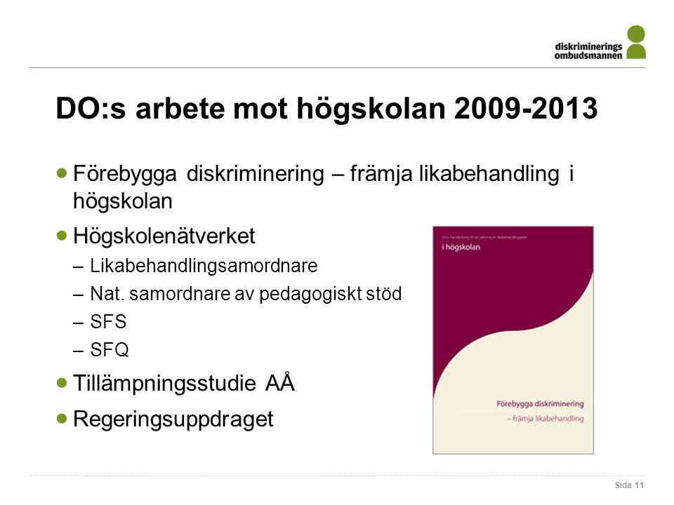 DO:s arbete mot högskolan 2009-2013