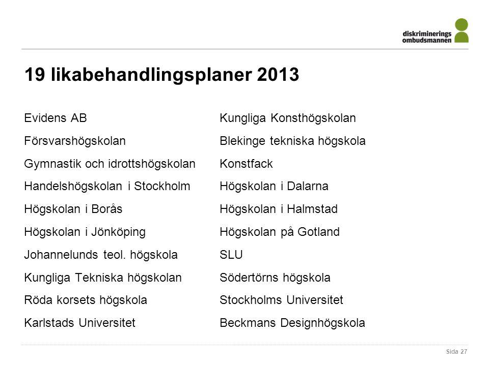 19 likabehandlingsplaner 2013