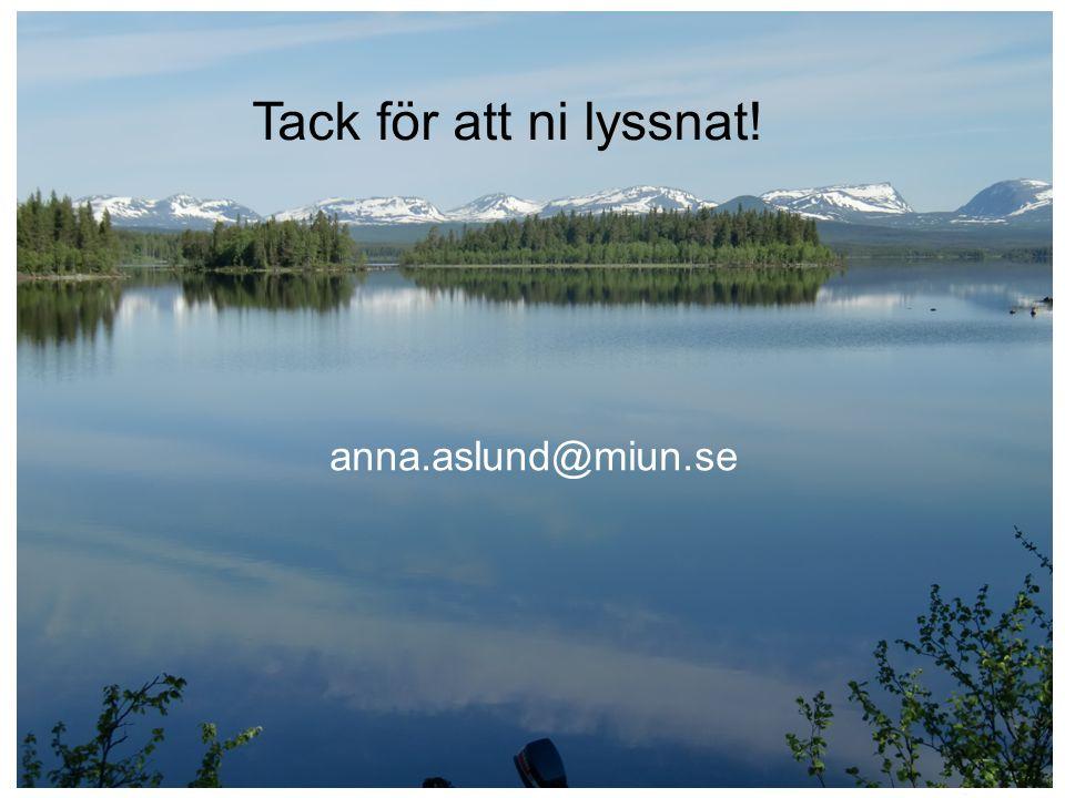 Tack för att ni lyssnat! anna.aslund@miun.se