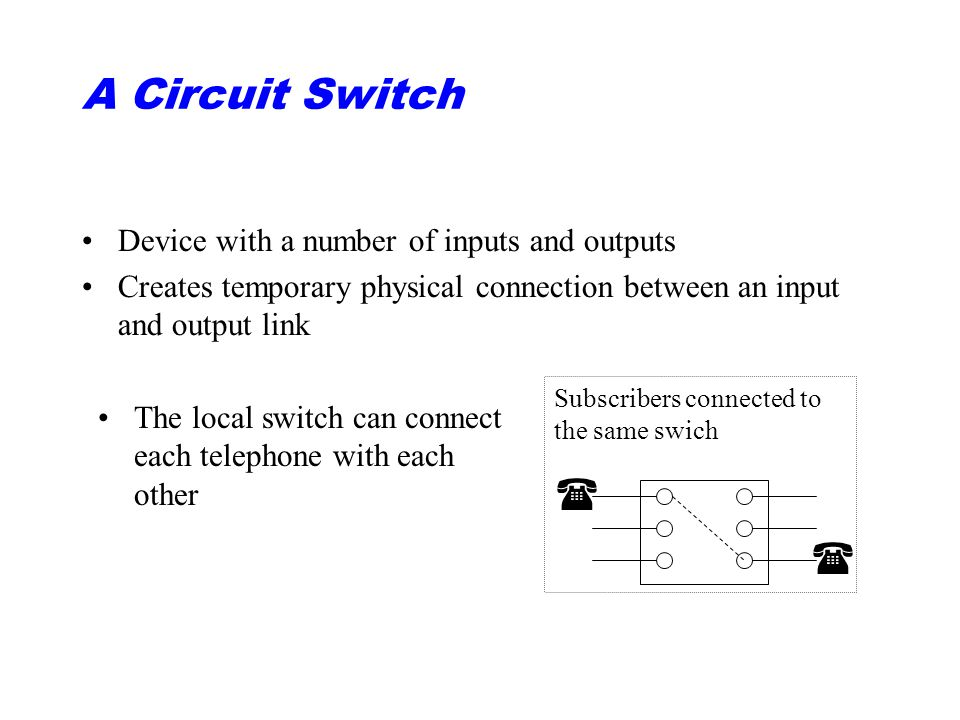 A Circuit Switch  Device with a number of inputs and outputs