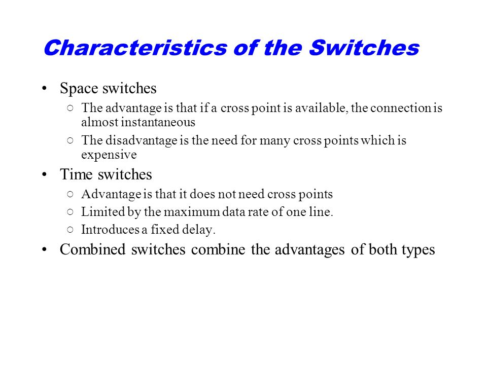 Characteristics of the Switches