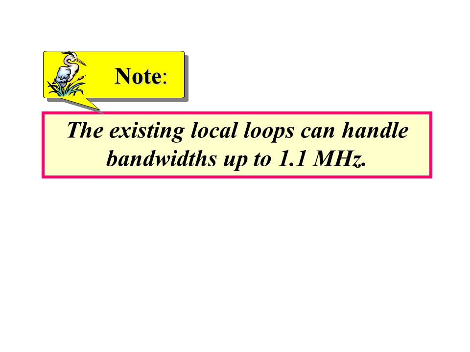 The existing local loops can handle bandwidths up to 1.1 MHz.