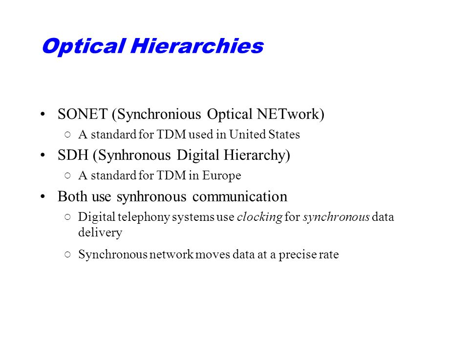 Optical Hierarchies SONET (Synchronious Optical NETwork)