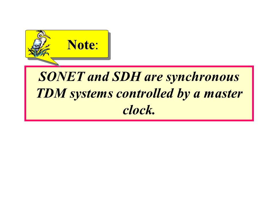 Note: SONET and SDH are synchronous TDM systems controlled by a master clock.