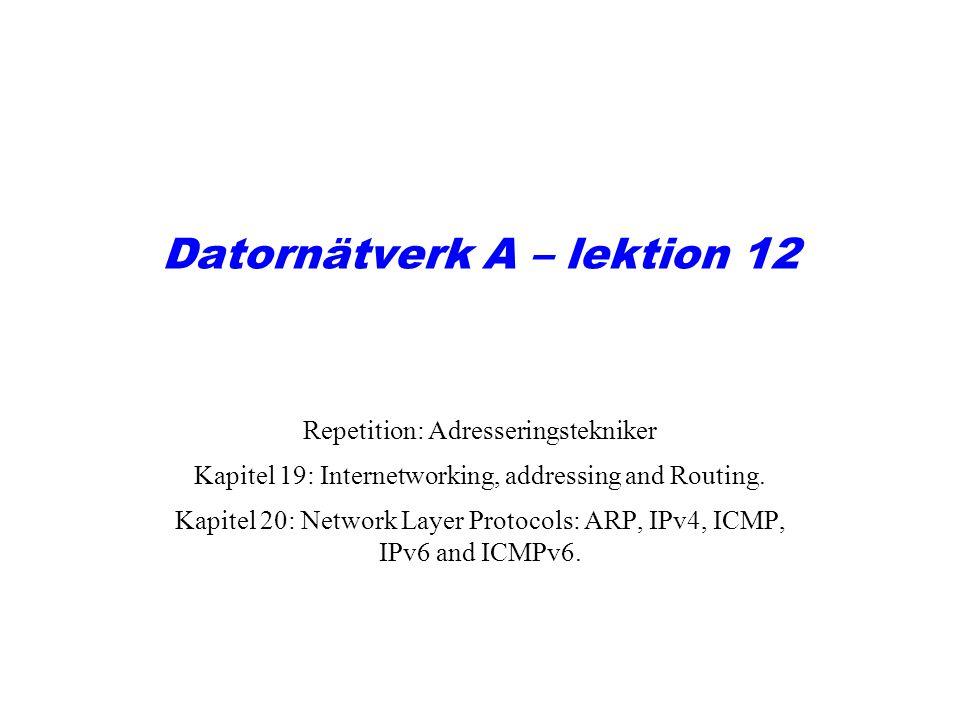 Datornätverk A – lektion 12