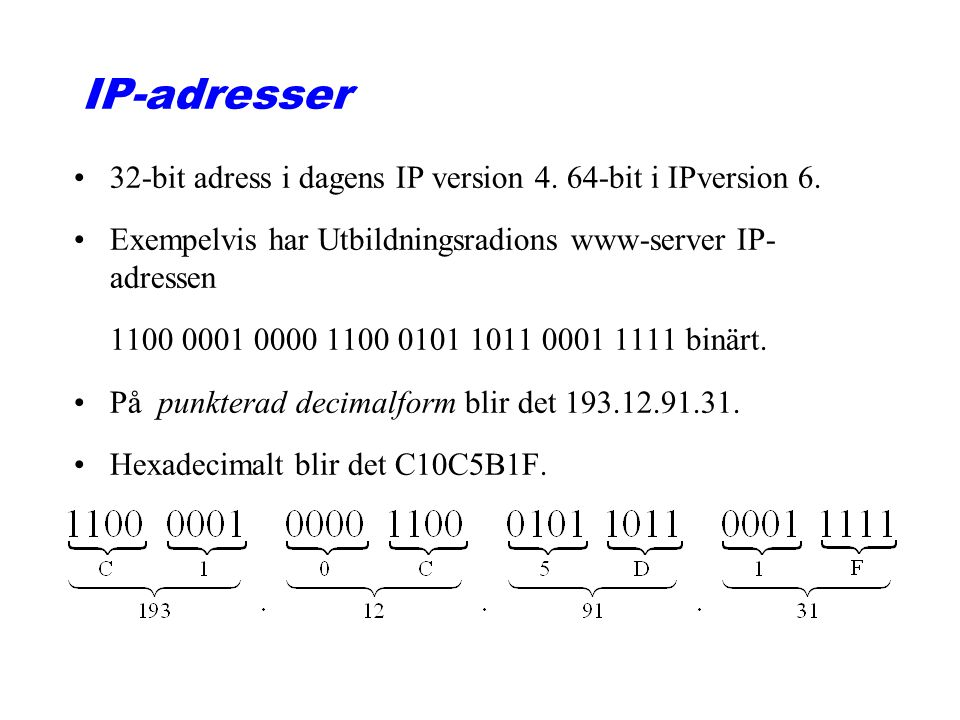 IP-adresser 32-bit adress i dagens IP version 4. 64-bit i IPversion 6.