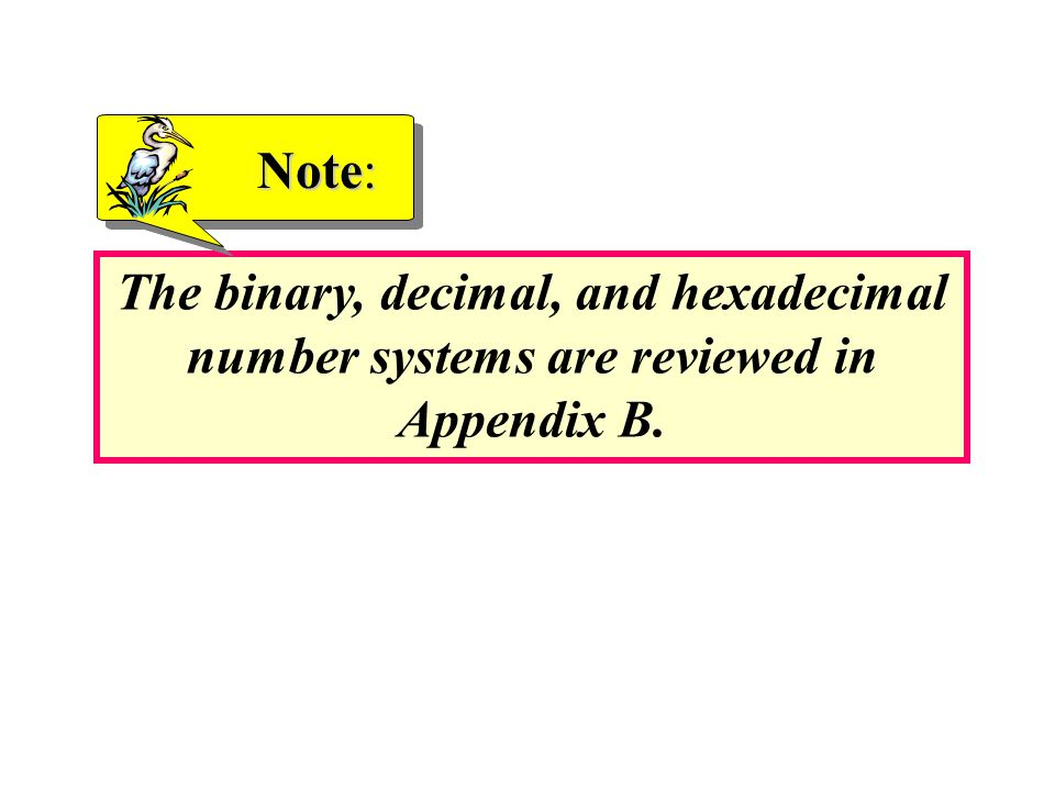 Note: The binary, decimal, and hexadecimal number systems are reviewed in Appendix B.