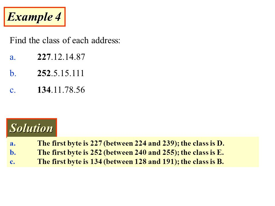 Example 4 Solution Find the class of each address: a. 227.12.14.87