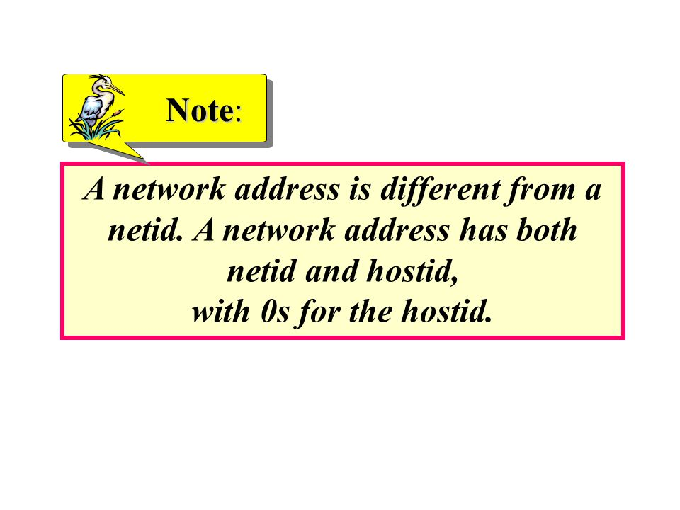 Note: A network address is different from a netid.