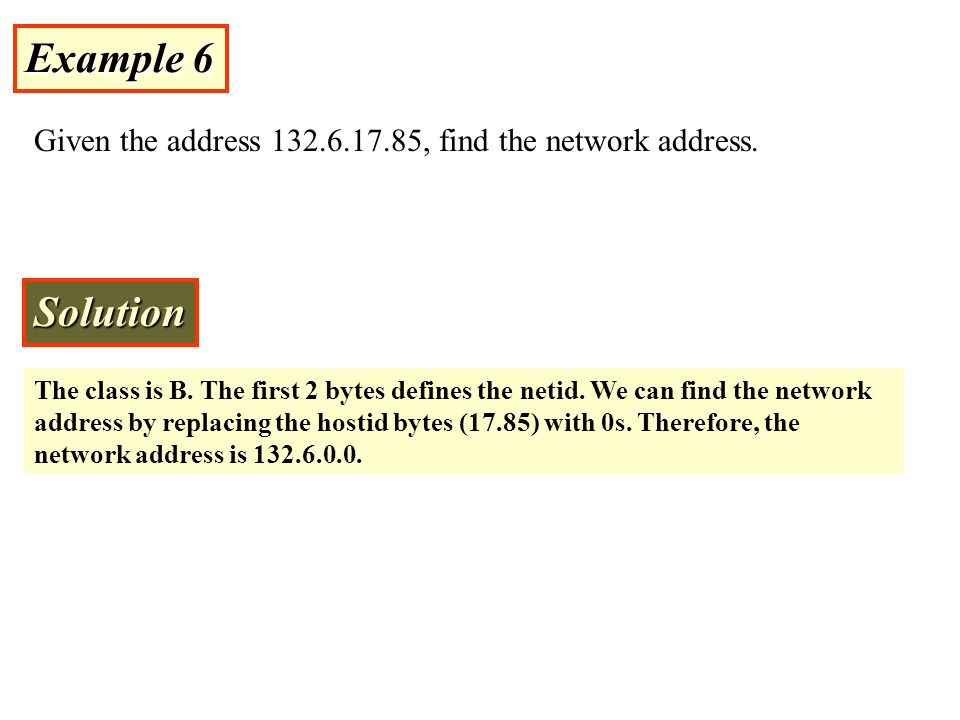 Example 6 Given the address 132.6.17.85, find the network address. Solution.