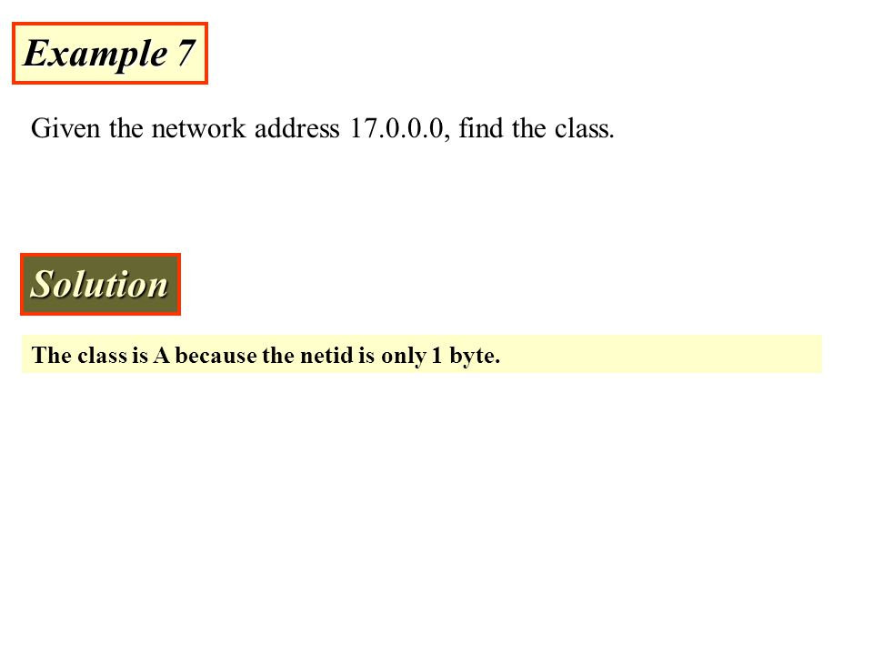 Example 7 Solution Given the network address 17.0.0.0, find the class.
