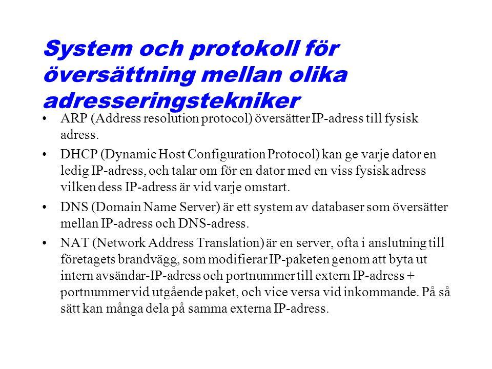 System och protokoll för översättning mellan olika adresseringstekniker