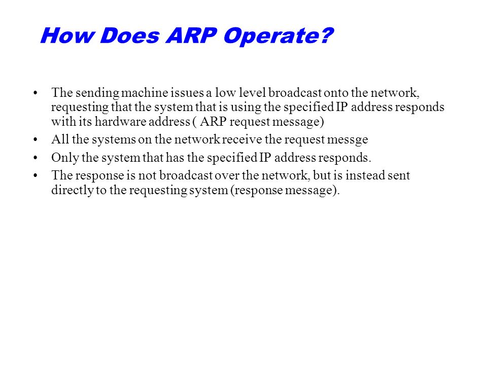 How Does ARP Operate