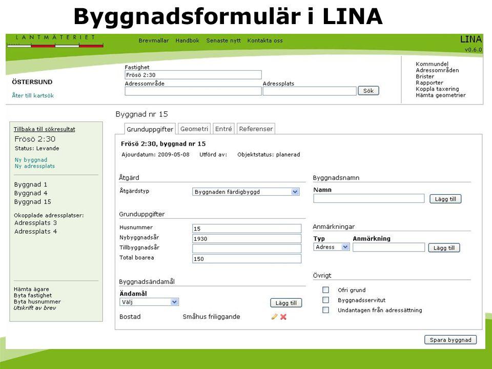 Byggnadsformulär i LINA