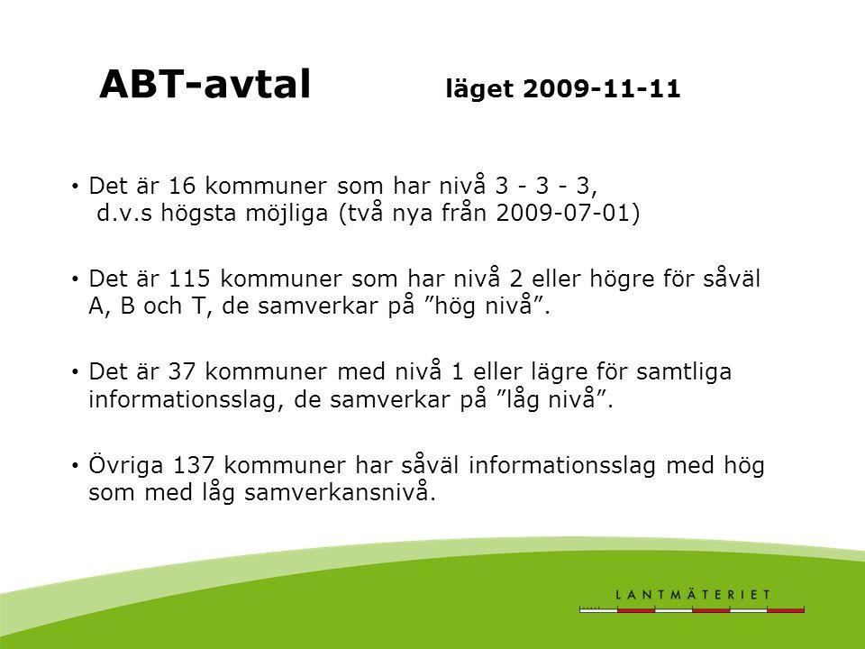 ABT-avtal läget 2009-11-11 Det är 16 kommuner som har nivå 3 - 3 - 3, d.v.s högsta möjliga (två nya från 2009-07-01)
