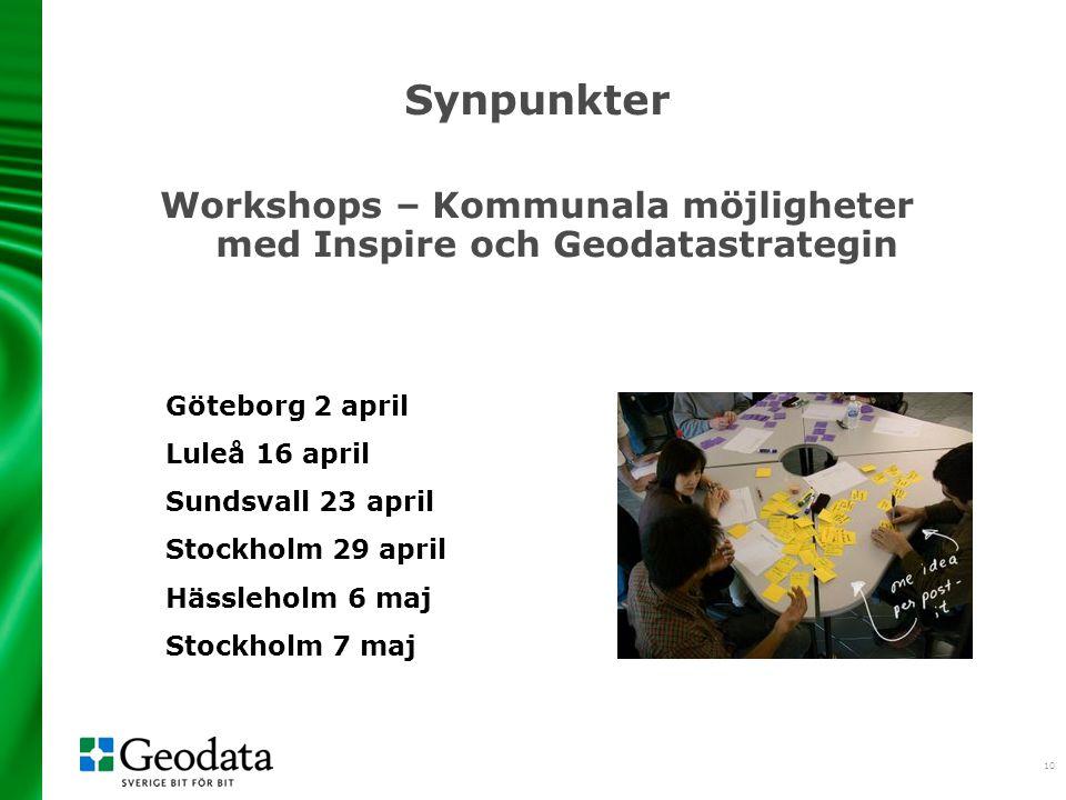 Workshops – Kommunala möjligheter med Inspire och Geodatastrategin