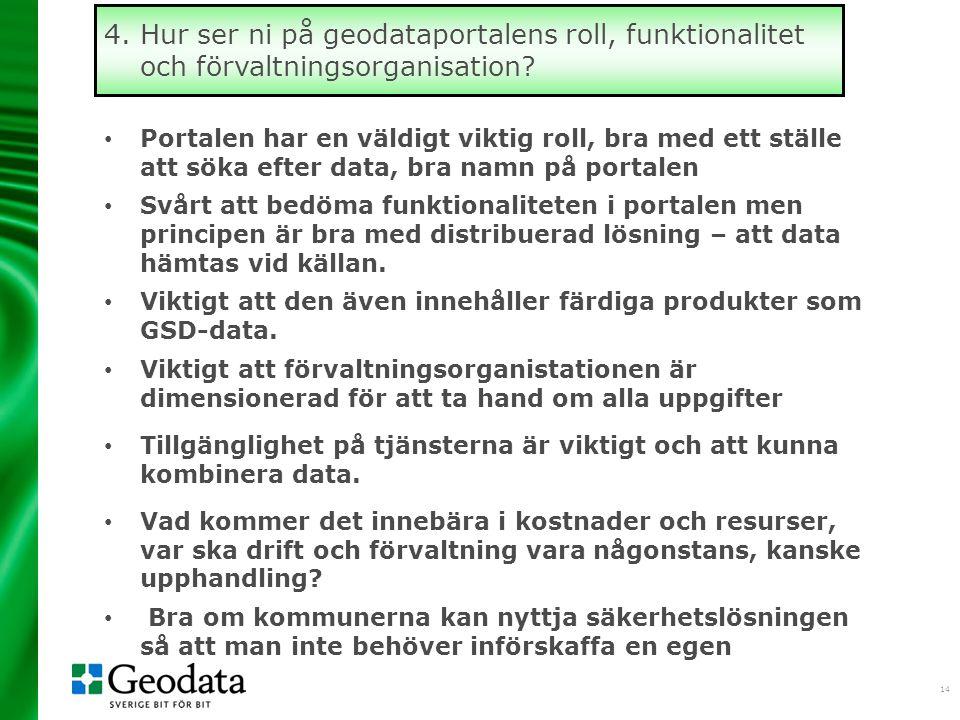 4. Hur ser ni på geodataportalens roll, funktionalitet och förvaltningsorganisation