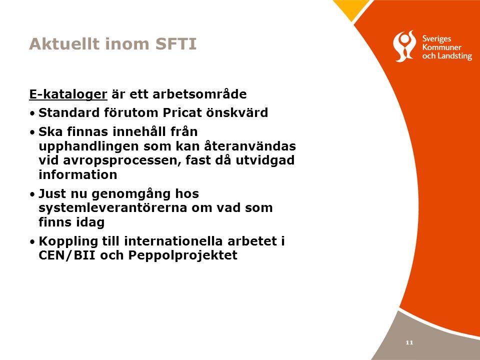 Aktuellt inom SFTI E-kataloger är ett arbetsområde