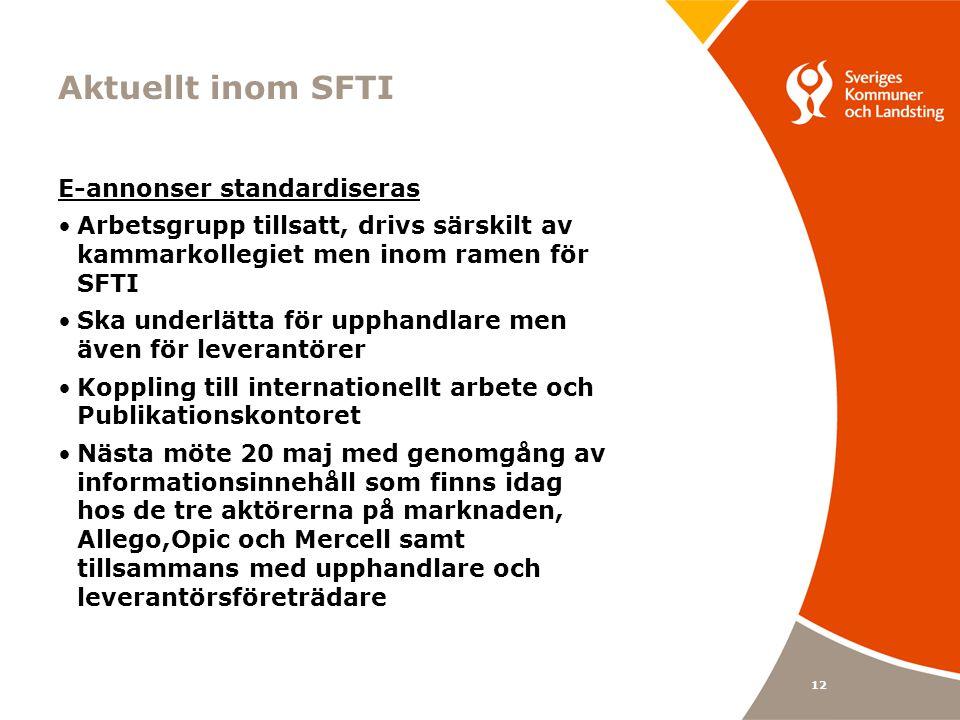 Aktuellt inom SFTI E-annonser standardiseras