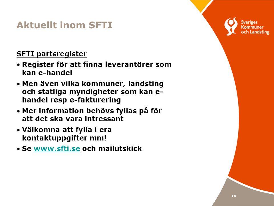 Aktuellt inom SFTI SFTI partsregister