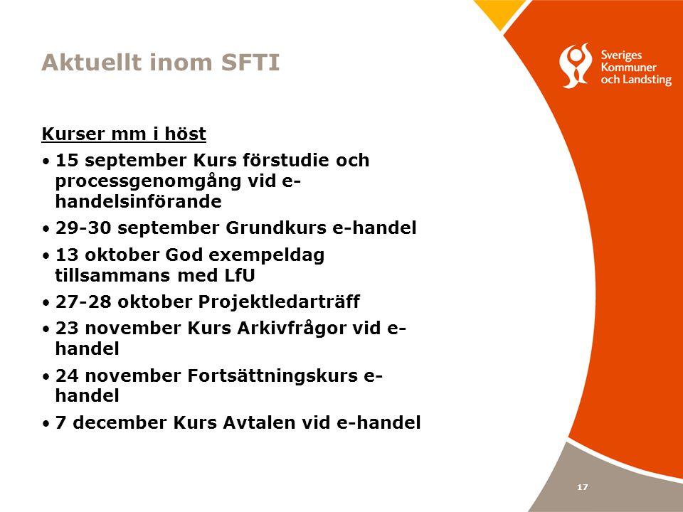 Aktuellt inom SFTI Kurser mm i höst