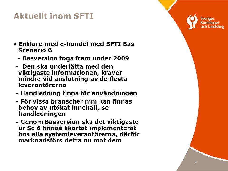 Aktuellt inom SFTI Enklare med e-handel med SFTI Bas Scenario 6