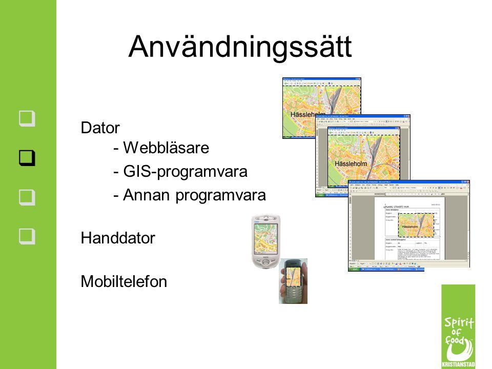 Användningssätt Dator - Webbläsare - GIS-programvara