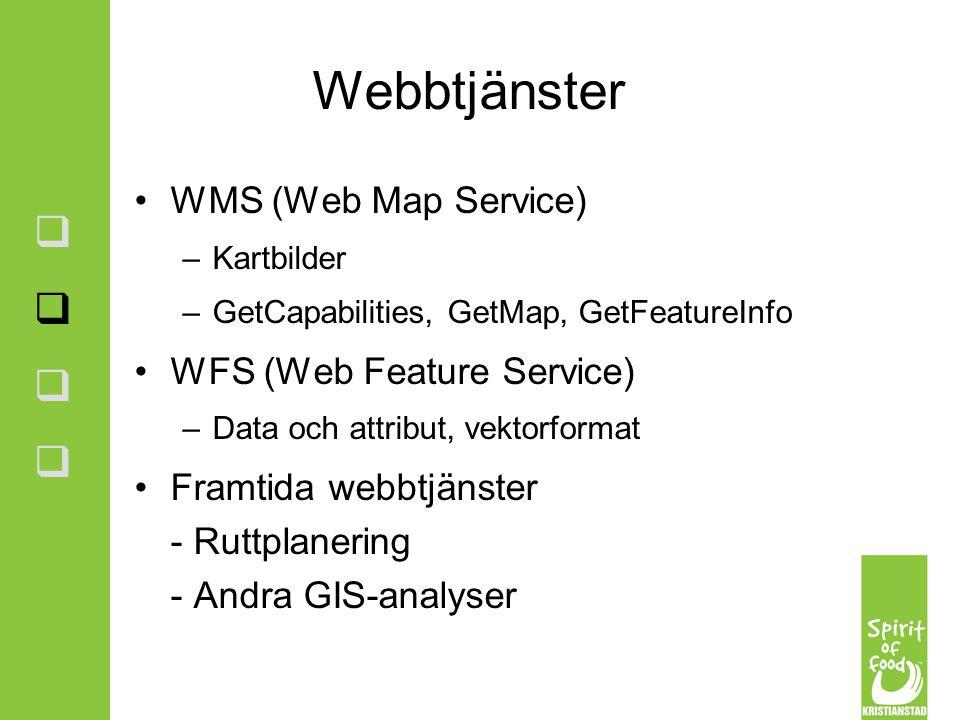 Webbtjänster WMS (Web Map Service) WFS (Web Feature Service)