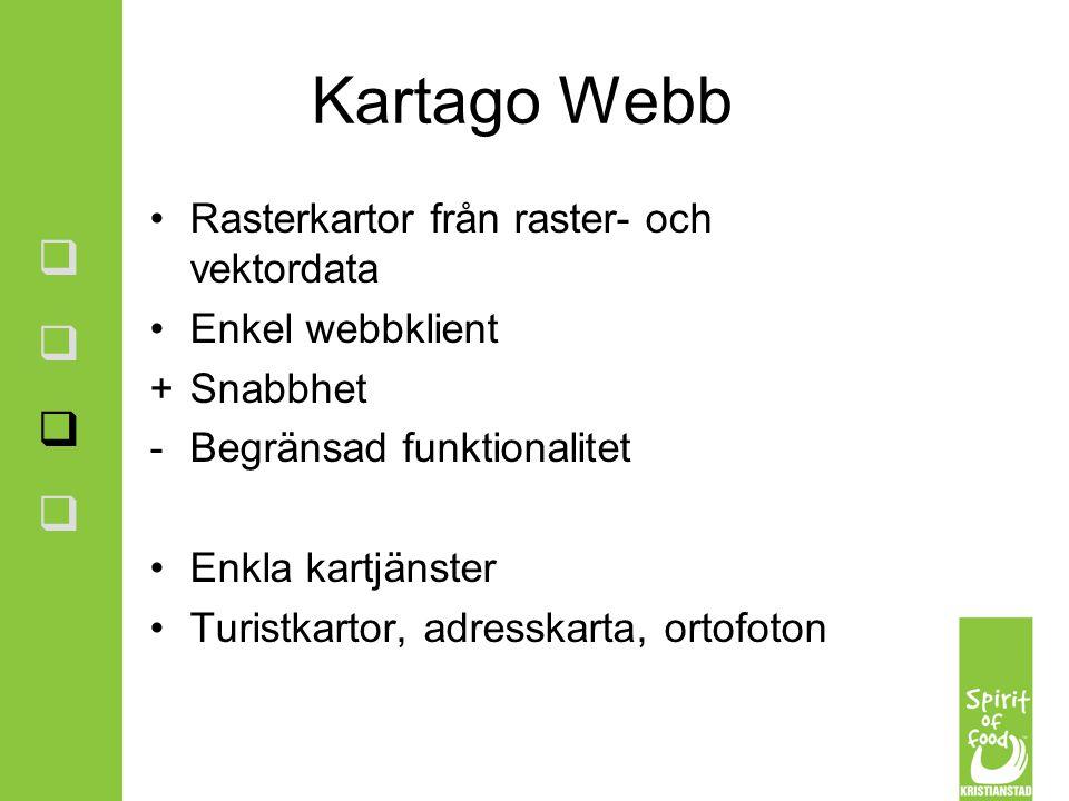 Kartago Webb Rasterkartor från raster- och vektordata Enkel webbklient