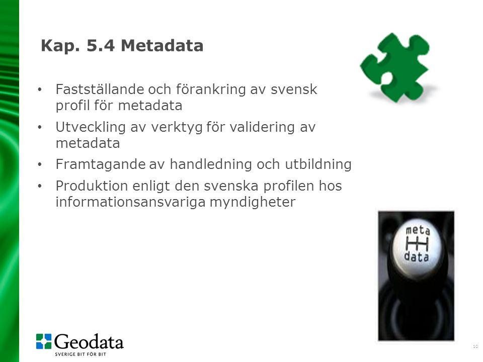 2017-04-06 Kap. 5.4 Metadata. Fastställande och förankring av svensk profil för metadata. Utveckling av verktyg för validering av metadata.