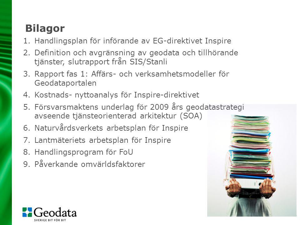Bilagor Handlingsplan för införande av EG-direktivet Inspire