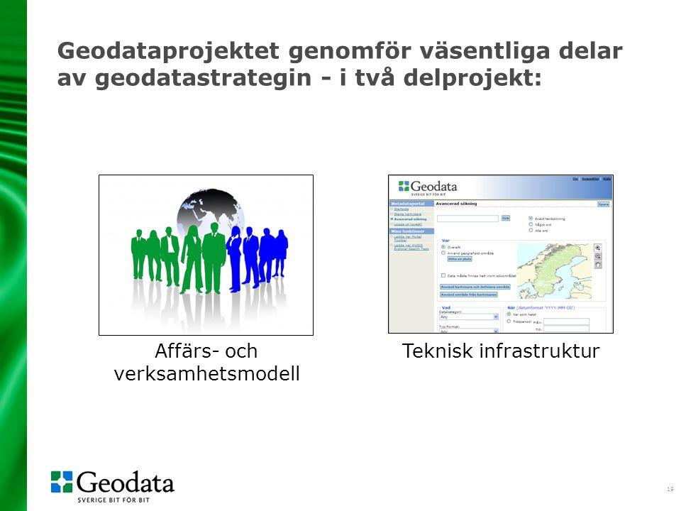 2017-04-06 Geodataprojektet genomför väsentliga delar av geodatastrategin - i två delprojekt: Affärs- och verksamhetsmodell.