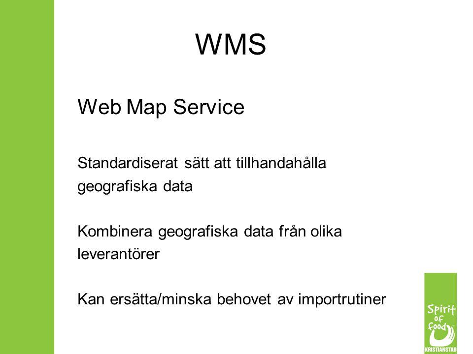 WMS Web Map Service Standardiserat sätt att tillhandahålla