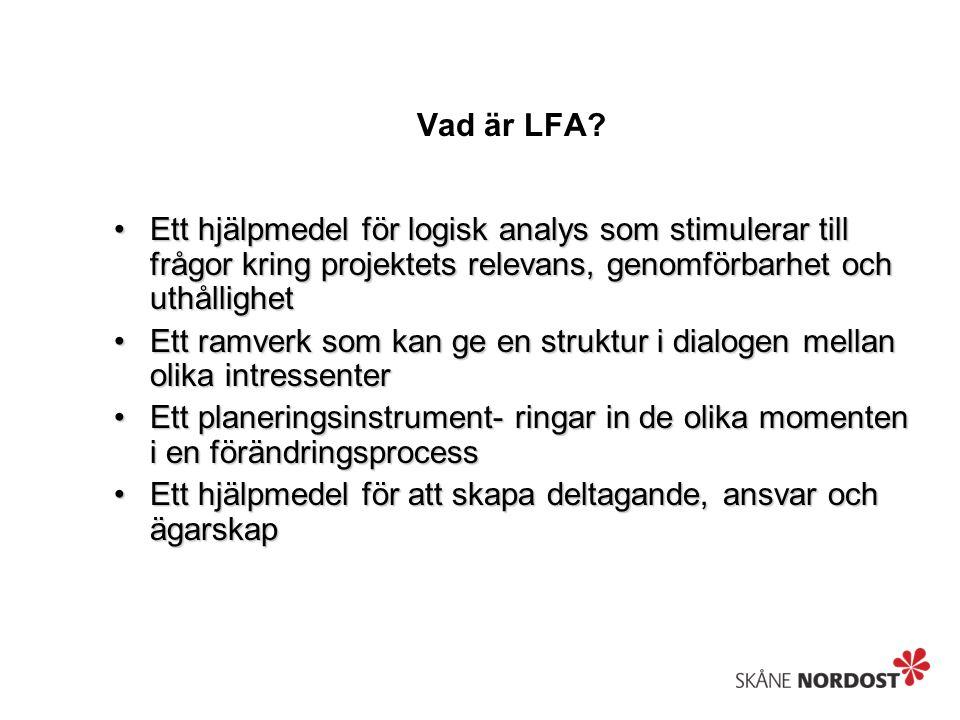Vad är LFA Ett hjälpmedel för logisk analys som stimulerar till frågor kring projektets relevans, genomförbarhet och uthållighet.