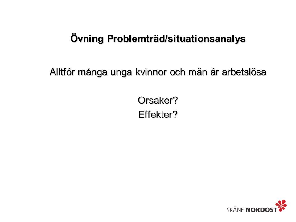 Övning Problemträd/situationsanalys