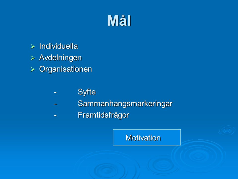 Mål Individuella Avdelningen Organisationen - Syfte