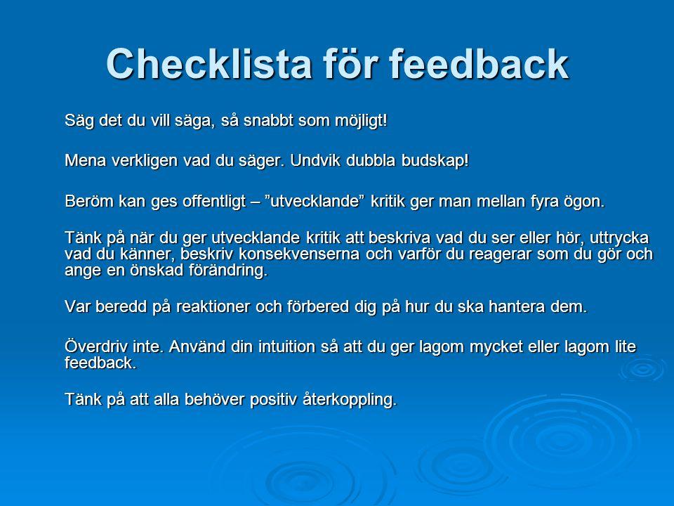 Checklista för feedback
