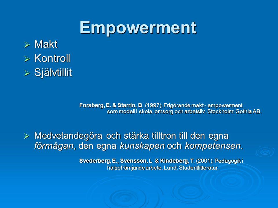 Empowerment Makt Kontroll Självtillit