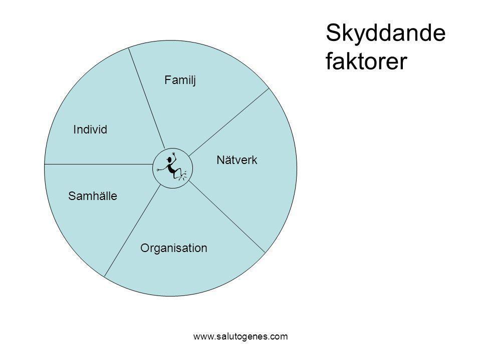Skyddande faktorer Familj Individ Nätverk Samhälle Organisation